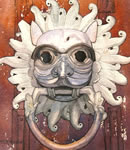 Watercolour of the Sanctuary Knocker, Durham Cathedral