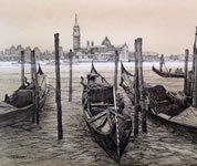Drawing of gondolas moored in Venice